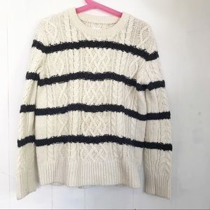 Gap | Ivory and Blue Stripe Cable Knit Sweater